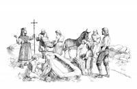2.- Reconstrucción de una ceremonia funeraria con enterramiento en la roca (Dibujo de J. Muñoz Domínguez)