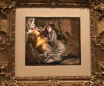 Muchacha tumbada con traje escocés. G. Boldini