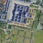 Fig. 1. El Escorial en imagen de satélite: edificio rodeado al sur por jardines, estanque, huerta, dehesa y arbolado (Google Maps 2019)